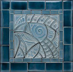 Hand Made Blue Bird CeramicTile Backsplash / Lynne Meade Porcelain Ceramic Tile Art, Clay Tiles, Ceramic Design, Ceramic Artists, Porcelain Tile, Tile Design, Mosaic Glass, Mosaic Tiles, Art Tiles