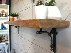 Reclaimed Style Rustic wood Shelves Industrial Solid Wood Shelf With Albian Style Brackets Floating Shelf Wooden Wall Shelf Kitchen Shelf Kitchen Wall Shelves, Wooden Wall Shelves, Solid Wood Shelves, Wooden Walls, Wood Shelf, Rustic Shelving Unit, Rustic Floating Shelves, Industrial Shelving, Industrial Style