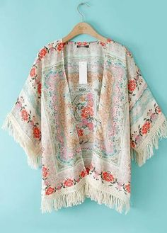 New Half Sleeve Print Cardigans with Tassel