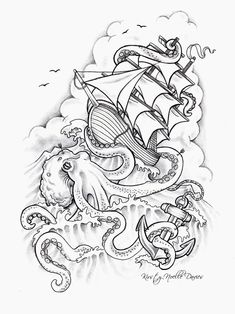 Octopus Sinking Ship Tattoo Design by kirstynoelledavies on DeviantArt – Octopus Tattoo Octopus Drawing, Octopus Tattoo Design, Octopus Tattoos, Tattoo Designs, Tattoo Ideas, Octopus Sketch, Octopus Art, Tattoos 3d, Kunst Tattoos