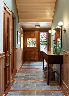slate flooring Slate And Wood Floor Design Ideas, Pictures, Remodel, and Decor - page 4 Hardwood Floor Colors, Wood Tile Floors, Slate Flooring, Wood Paneling, Hardwood Floors, Wood Floor Design, Tile Design, Entryway Flooring, Hallway Designs