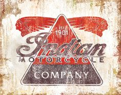 INDIAN MOTORCYCLE SIGN vintage painting - 12x18 High Quality Art Print. $20.00, via Etsy.
