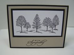 Included is one handmade, With Sympathy card featuring a hand-stamped image of black trees on white, layered over black cardstock. The base of