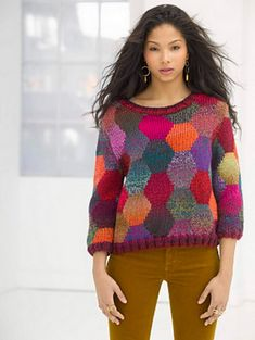 Poetic Color Pullover knit in Lion Brand Yarn. Quick color in bulky yarn Knitting Patterns Free, Knit Patterns, Free Knitting, Free Pattern, Knitting Needles, Cardigan Pattern, Knitting Projects, Knitting Supplies, Crochet Clothes