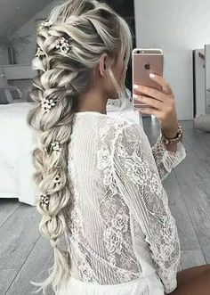 Penteado + trança + loiro+ platinado+ longo
