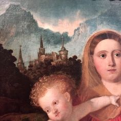 GIOVANNI DE' BUSI DETTO CARIANI                                   (Fuipiano al Brembo, Bergamo 1485 circa - post 26 novembre 1547), MADONNA CON IL BAMBINO I SANTI GIUSEPPE E CATERINA