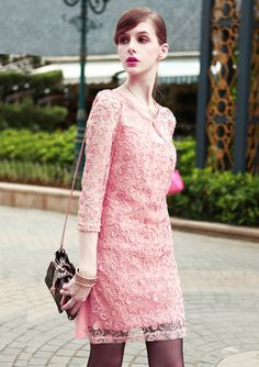 Women New Fashion Lace Cute Flower Girl Shift Dress