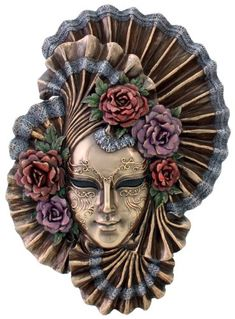 Art Deco - Venetian Style Carnival Mask - Wall Decor - Fill your home with Art Deco style and the grace and loveliness of the peony with this Venetian mask plaque. The exquisite details and hand painted accents will bring exotic beauty to any room. $49.44