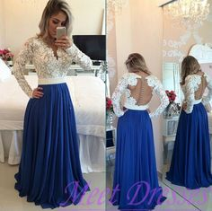 Royal Blue Prom Dress 2016 Princess V neckline Long Sleeves Lace Evening Dresses Beaded Gowns For Teens - Thumbnail 1
