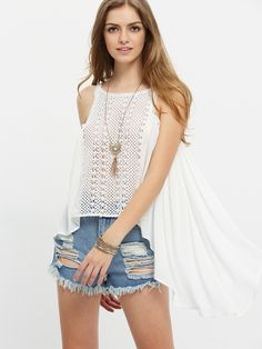 Blusa sin manga crochet asimétrico -beige-Spanish SheIn(Sheinside)