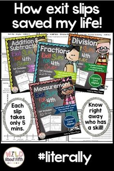 Fourth grade teachers - this little guy has saved my life, literally. No more making up silly assignments just to get grades. (Gulp, confession time) This guy truly assesses my student's understanding each day (bonus) and can be entered into my grade book 4th Grade Math, Fifth Grade, Second Grade, Fun Math Games, Phonics Activities, Exit Slips, Teaching Math, Teaching Ideas, Teaching Tools