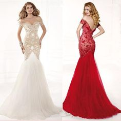 Cheap Sale  2015  Elegant Mermaid Ball Gown White Red Lace Formal Evening Dresses Long Pageant Sexy Prom Dress Tulle