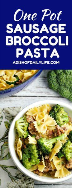 Hypoallergenic Pet Dog Food Items Diet Program One Pot Sausage Broccoli Pasta - Easy Family Friendly Dish, Perfect For Busy Weeknights - A Dish Of Daily Life Hot Sausage, Sweet Italian Sausage, Pork Recipes, Pasta Recipes, Cooking Recipes, Family Recipes, Sausage Broccoli Pasta, Dinner On A Budget, One Pot Meals