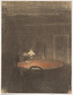 Figure Reading at a Table in an Interior at Night Vilhelm Hammershøi