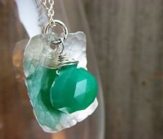 Hammered & Polished Sterling Silver Pendant With Green Chalcedony by TNine Design
