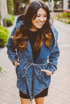 denim trench coat hoodie