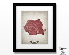 Romania Map Art Print - Home Is Where The Heart Is Love Map - Original Custom Map Art Print Available in Multiple Size and Color Options by TRPrints on Etsy