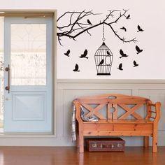 Adesivo de parede - Árvore Galho com pássaros
