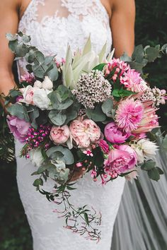Rustic pink and green wedding bouquet | Angela Rose Photography