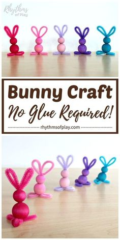 easy crafts Pipe cleaner crafts like this easy bunny craft made with chenille stems and wooden beads are simple for kids of all ages--no glue required! A cute pipe cleaner bunny craft that Easter Art, Easter Crafts For Kids, Crafts To Do, Preschool Crafts, Easy Crafts, Room Crafts, Simple Kids Crafts, Easter Bunny, Simple Craft Ideas
