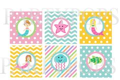 "Digital Mermaid Party Cupcake Toppers, 2"" decoration,  Birthday, Printable,  DIY, Decoration   Pink, Aqua, Yellow, INSTANT DOWNLOAD Sweet"
