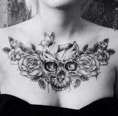 Across shoulders on back - tattoo - Tatouage Chest Tattoo Skull, Rose Chest Tattoo, Cool Chest Tattoos, Chest Tattoos For Women, Chest Piece Tattoos, Pieces Tattoo, Back Tattoo Women, Skull Tattoos, Rose Tattoos