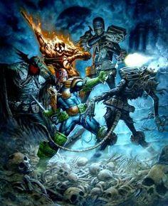 Judge Dredd vs The Dark Judges; Judge Fear, Judge Fire, Judge Death and Judge Mortis by Greg Staples