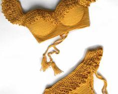 """Crochet swimsuit """"Shaffran"""" Swimwear 2-Push-up Bikini Skirt-Bottom Thong Bikini Bikini Crochet, Handmade swimsuit, Boho swimwear """"Queen"""""""