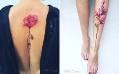 Inspired by the botanical specimens she finds while walking through parks and gardens on her frequent travels, tattoo artist Pis Saro creates elegant plant portraits on the legs, arms, and spines of her international clients.