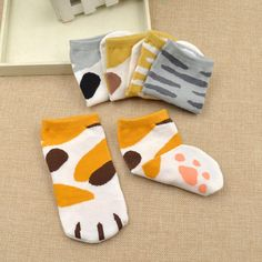 Cartoon Cat Claw Printed Cotton Ankle Sock Women Kawai Socks Korea Style