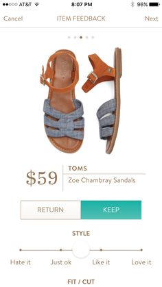 Dear Stitch Fix Stylist - very cool use of chambray on these summer flats.