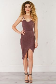 HOLD ME CLOSE SUEDE MIDI BODYCON DRESS