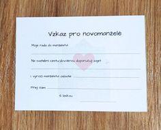 Stáhni si zdarma šablonu na vzkazy pro novomanželé #svatebnizabava, #svatebnihry, #svatebnipripravy, #svatba Place Cards, Place Card Holders