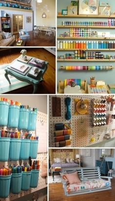 Sewing room organization sewing room storage and nization products craft ideas nizing how to nize sewing . Craft Room Storage, Craft Organization, Organizing Ideas, Craft Rooms, Storage Spaces, Storage Ideas, Organising, Paint Storage, Scrapbook Organization