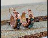 Rustic Copper Hoop Earrings: boho earrings - hand forged oxidized copper earrings - medium hoops with agate - tribal hoops
