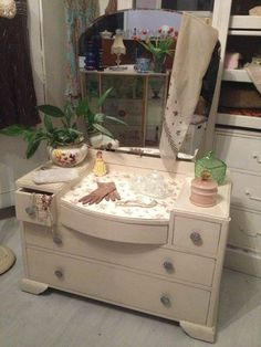 Vintage Art Deco Shabby Chic Dressing Table with Back Mirror & Decoupage, c1930s