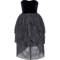 Isa ArfenTiered Velvet And Flocked Tulle Dress (€1.200) ❤ liked on Polyvore featuring dresses, black, velvet dress, velvet strapless dress, 80s dress, fitted tops and tiered cocktail dress