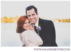 ivory lace dress purple flowers red hair lake outdoor wedding photos dock water Florida Amanda Blythe Photography