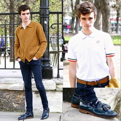 Blue Loafers, Flag Socks, Mr. Marcel French Flag Polo, Le Mont Saint Michel Mustard Cardigan, Asos Skinny Jeans, Leather Crock Like Belt, Charlie Watch Watch