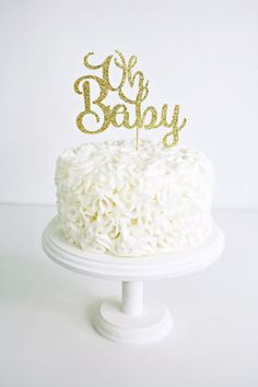 Gold Glitter Oh Baby Cake Topper  Handmade Cake by YummyParty