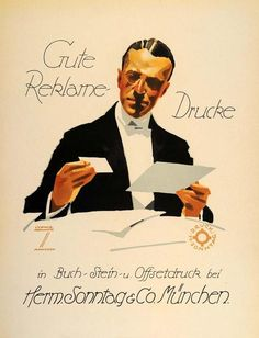 """""""Gute Reklame-Drucke"""" This is an original 1926 six-color lithograph advertising mini poster by Ludwig Hohlwein for Herm. Sonntag & Co., Munich. Period Paper"""
