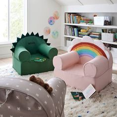 No kids room or playroom is complete without a perfectly colorful seat. That's where our super-soft Large Rainbow Nod Chair comes in. Playroom Flooring, Playroom Table, Toddler Playroom, Playroom Furniture, Playroom Organization, Playroom Decor, Playroom Design, Cheap Playroom Ideas, Furniture Ideas