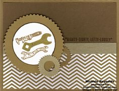 """Handmade masculine card using Stampin' Up! products - Guy Greetings Stamp Set, 2013-2015 In Colors Backgrounds Designer Series Paper, Brushed Gold Card Stock, Starburst Framelits, 2"""" Circle Punch, 1/2"""" Circle Punch, and Gold Stampin' Dazzle Marker. By Michele Reynolds, Inspiration Ink, http://inspirationink.typepad.com/inspiration-ink/2015/04/guy-greetings-class-follow-up.html. #stampinup #inspirationink #guygreetings"""