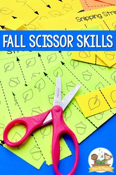 Fall Scissor Skills. Fall theme fine motor activitiy tray to practice scissor skills. These fall themed printables are perfect for practicing fine motor skills!