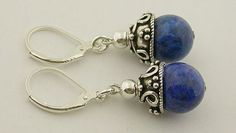 Lapis Lever Back Sterling Silver Earring 37a by 57north on Etsy, $18.99