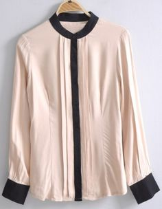 Pink High Neck Long Sleeve Pleated Blouse