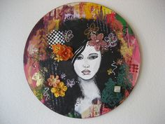 Black Haired Beauty on Vibrant Multicolored by CarlasCraft on Etsy, $110.00