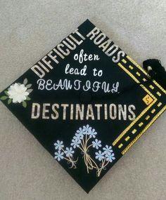 Graduation cap decoration idea for civil engineers ; difficult roads often lead . Graduation cap d Nursing Graduation, Graduation Diy, Graduation Quotes, High School Graduation, Graduate School, Decorate Cap For Graduation, Decorated Graduation Caps, Graduation Pictures, Graduation Cap Designs