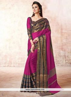 Glossy Cotton Lace Work Casual Saree