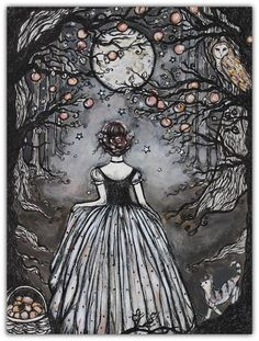 Midnight Peach by Art by Lady Viktoria on Etsy Illustration Art, Illustrations, Witch Art, Wow Art, The Artist, Pretty Pictures, Fantasy Art, Art Drawings, Art Photography